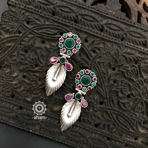 92.5 Sterling Silver Earrings with green and maroon coloured stones. Light weight and easy to wear.