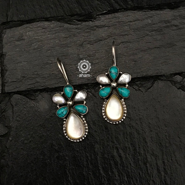 Summer Love Turquoise & Pearl Flower Silver Earring
