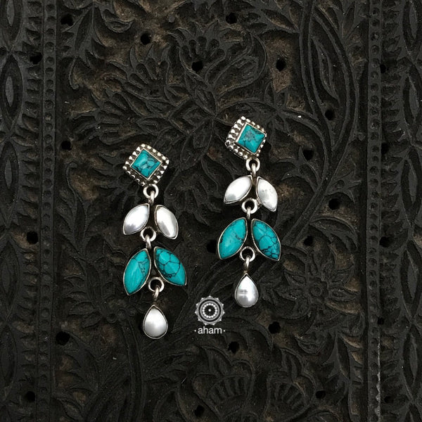 Everyday wear light weight 92.5 Sterling Silver Earrings with pearl and turquoise stones.