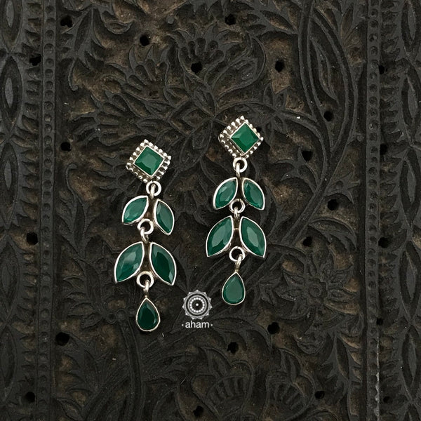 Everyday wear light weight 92.5 Sterling Silver Earrings with green stones.