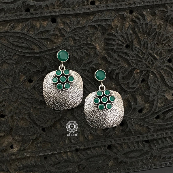92.5 Sterling Silver Handcrafted Silver Studs with green stones.