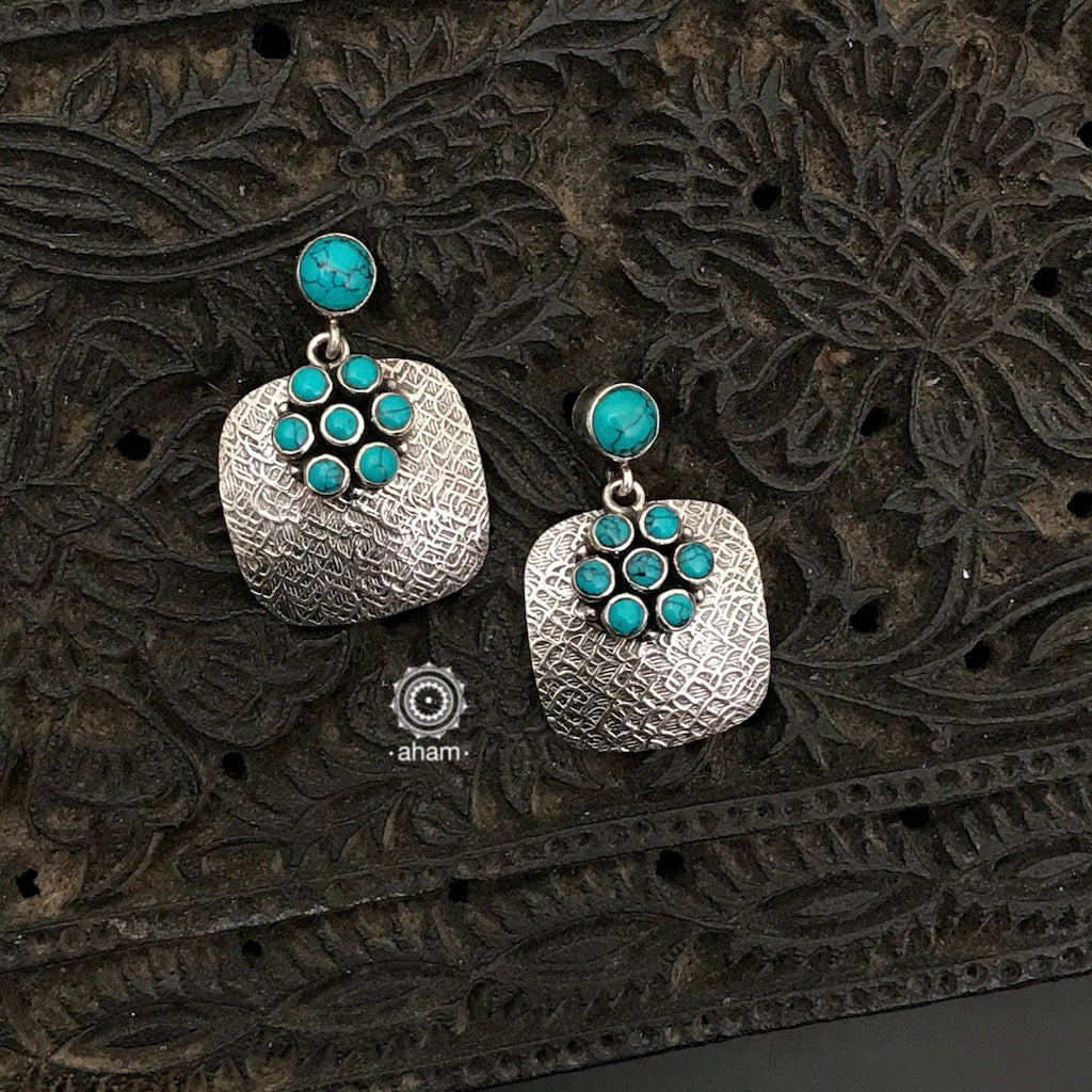 92.5 Sterling Silver Handcrafted Silver Studs with turquoise stones.