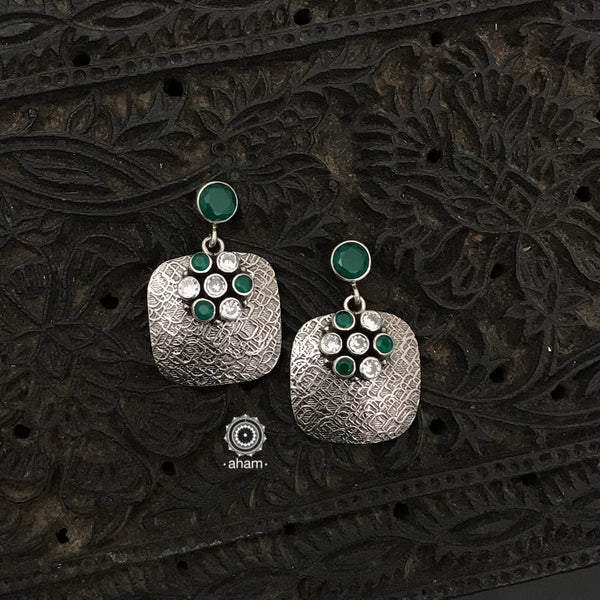 92.5 Sterling Silver Handcrafted Silver Studs with white and green stones.