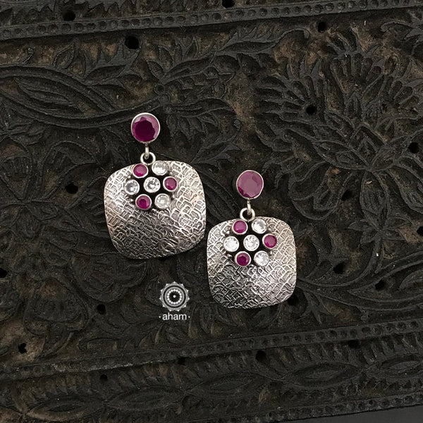 92.5 Sterling Silver Handcrafted Silver Studs with white and maroon stones.