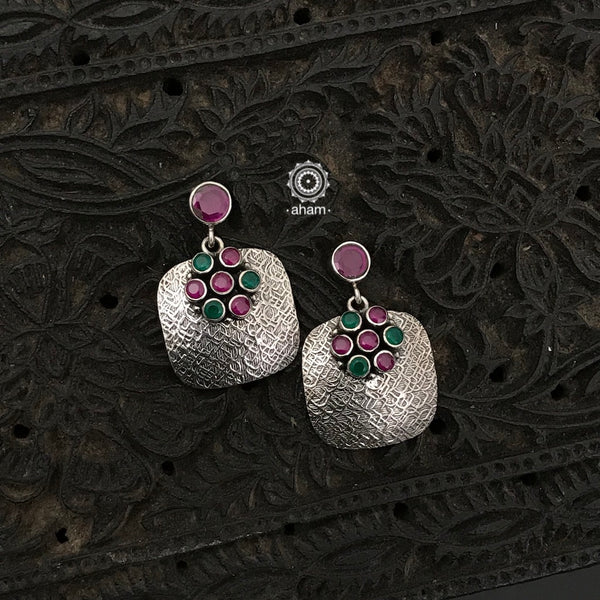 92.5 Sterling Silver Handcrafted Silver Studs with green and maroon stones.