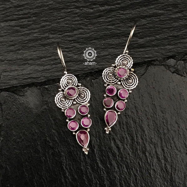 Summer Love Maroon Silver Earring