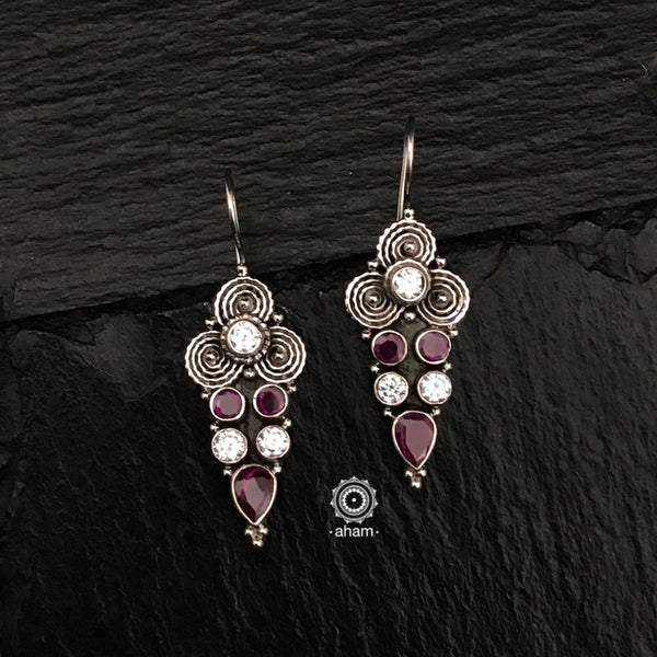 Summer Love Maroon & Zircon Silver Earring
