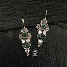 Everyday-wear 92.5 Sterling Silver Earrings with Green and Zircon stones. The grid image depicts the other colours in this design and model image for size reference.