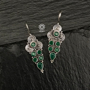 Everyday-wear 92.5 Sterling Silver Earrings with Green stones. The grid image depicts the other colours in this design and model image for size reference.