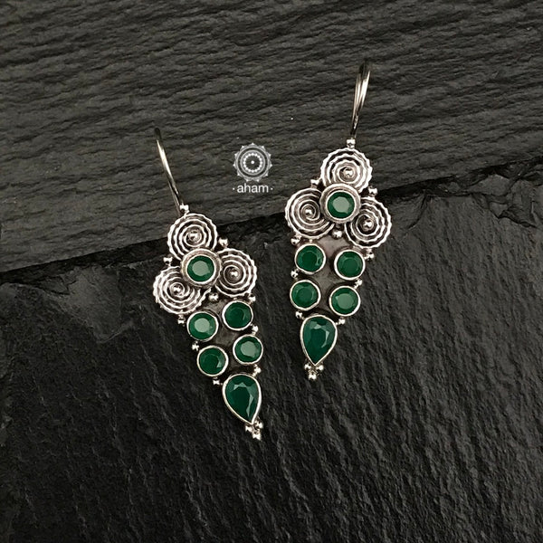 Summer Love Green Silver Earring