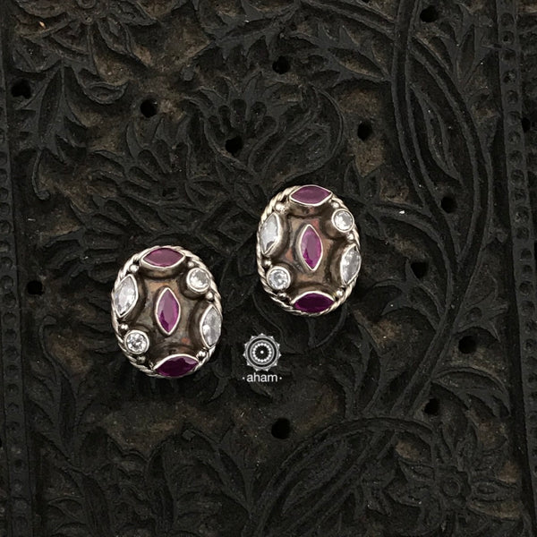 Silver Earrings with coloured stones. Light weight and great for everyday wear. The grid image depicts the other colours in this design and model image for size reference.