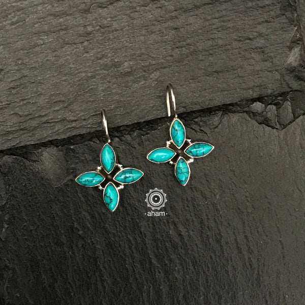 Everydaywear Silver 92.5 sterling earrings with turquoise and pearl stones