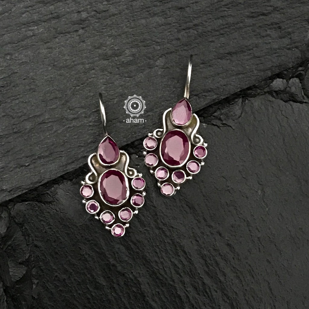92.5 Sterling Silver Earrings with maroon coloured stones. light weight and easy to wear