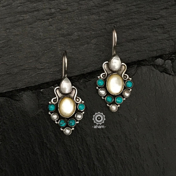 92.5 Sterling Silver Earrings with Turquoise & Pearl. light weight and easy to wear