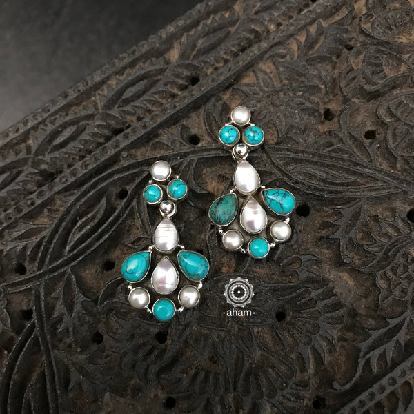 92.5 Sterling Silver Everyday wear Silver Studs with Pearl and Turquoise.