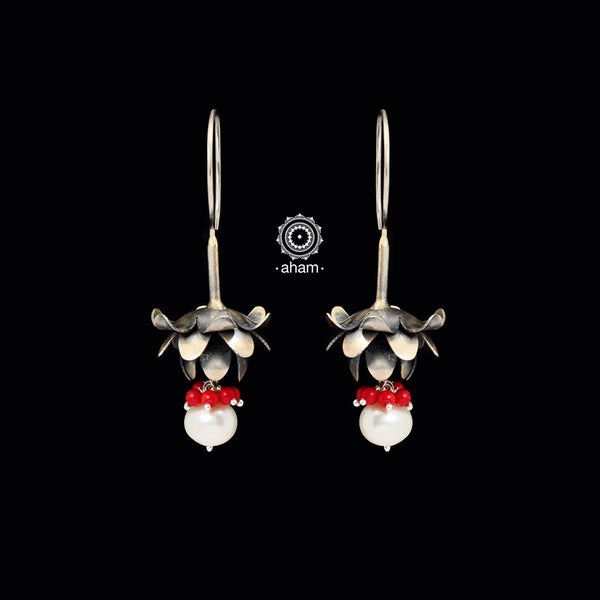 Inverted Red Lotus Silver Earring