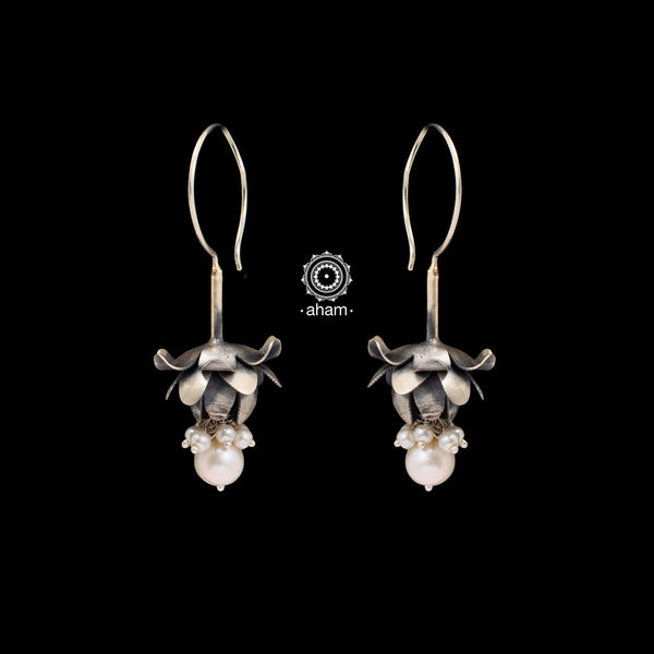 Inverted White Lotus Silver Earring