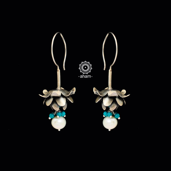 Inverted Blue Lotus Silver Earring