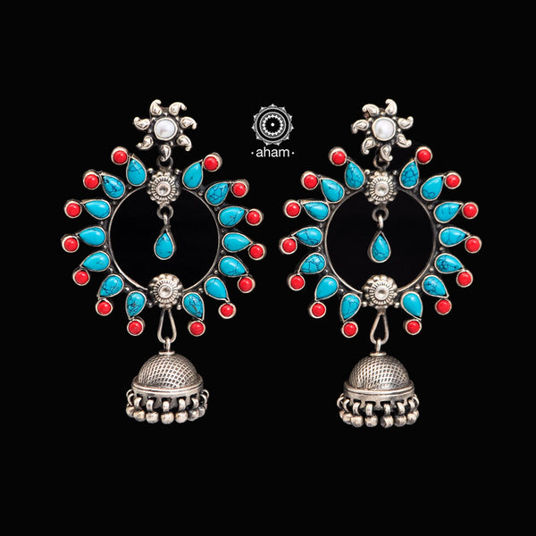 Turquoise and Coral colour Stones silver Jhumkie in 92.5 silver