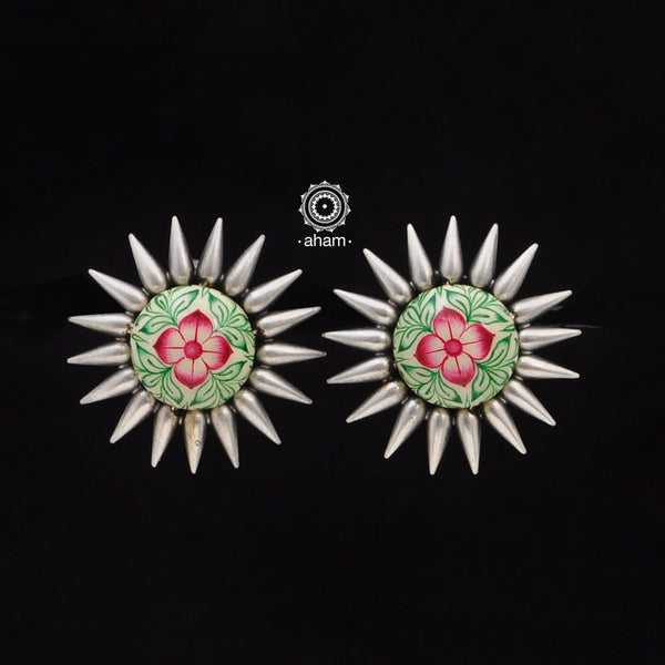 Silver studs with hand Meena work