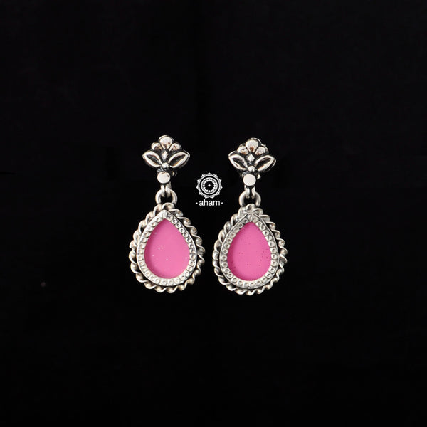 Silver, coloured foil and glass Rang Mahal Earrings