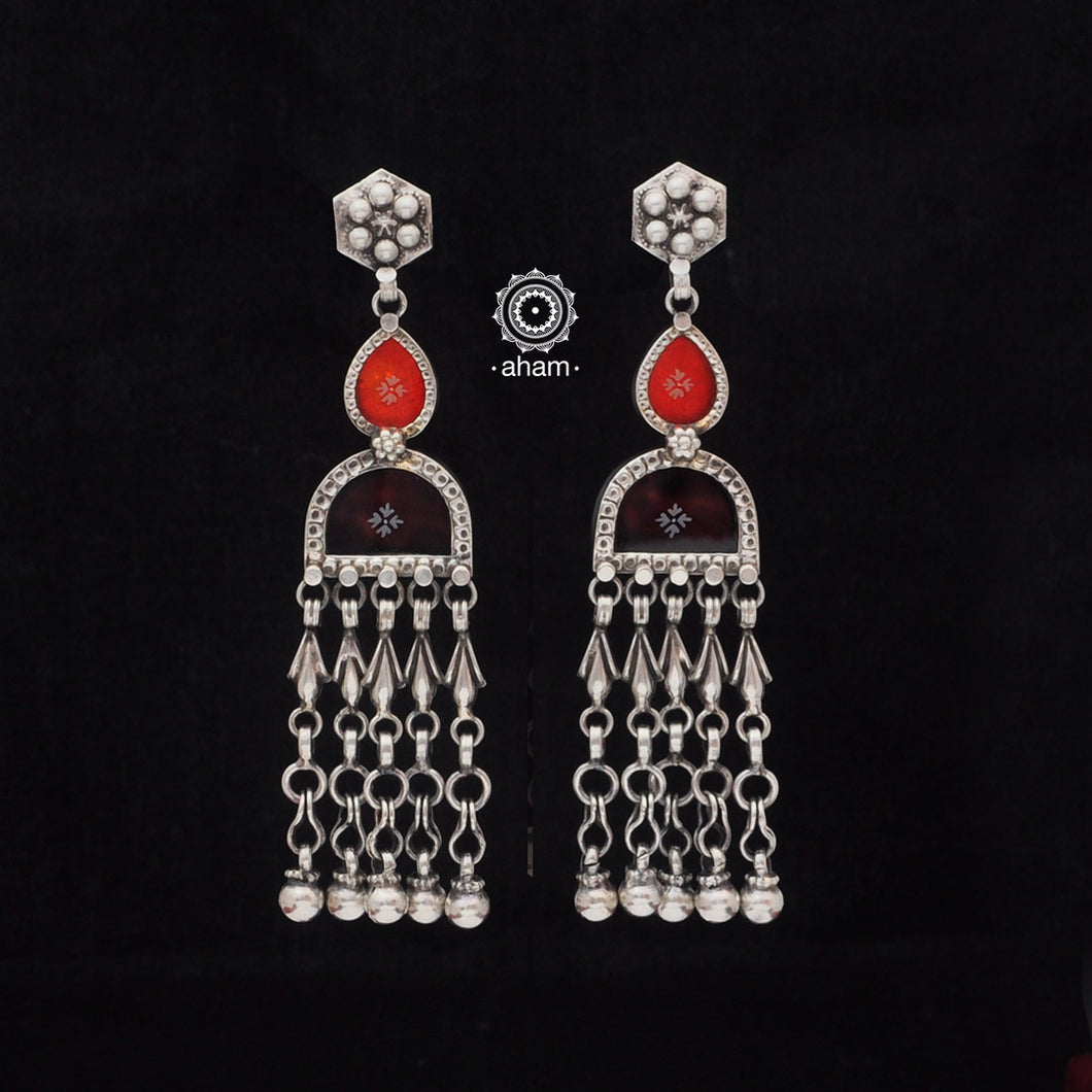 Orange and Brown Rang Mahal Silver Earring
