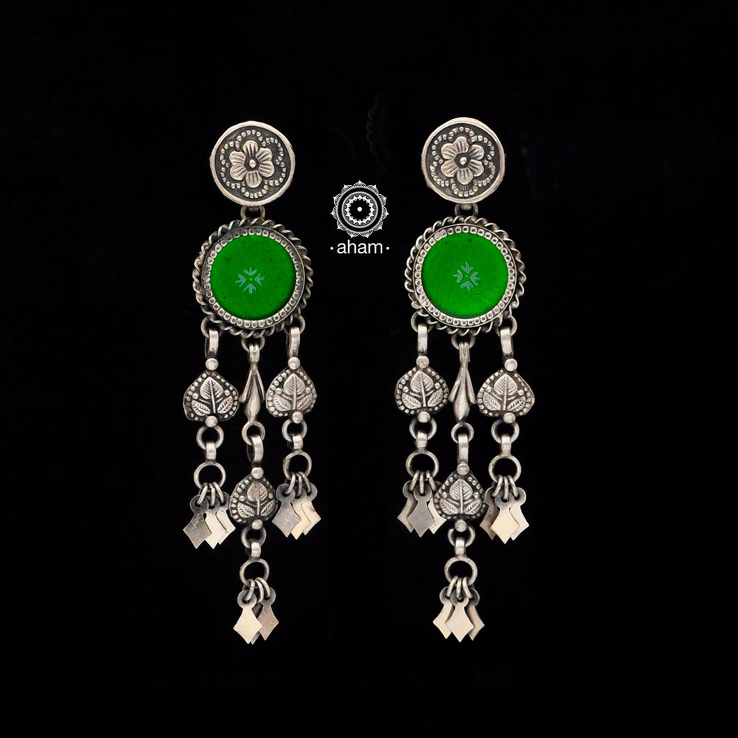 Silver Rang Mahal Earrings. The magic that happens when glass, silver and a pop of colour come together.