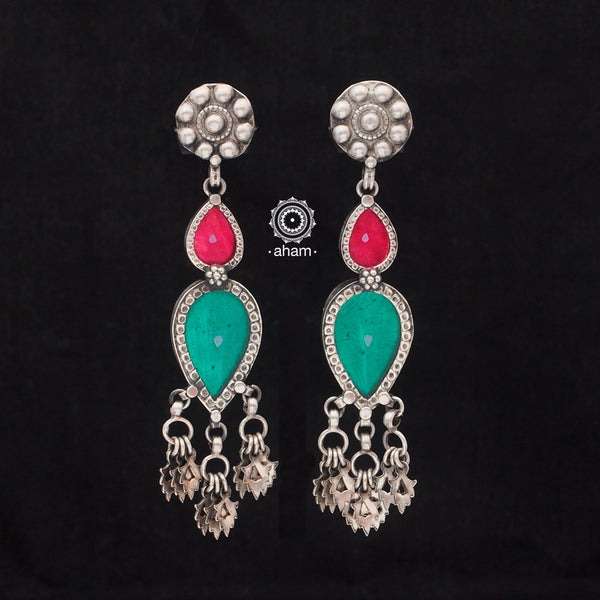 Green and Pink Silver Rang Mahal Earring