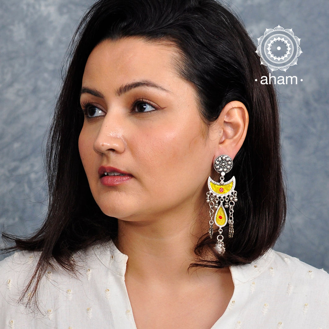 Yellow Half Moon Silver Rang Mahal Earring