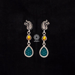Green Drop Silver Rang Mahal Earring