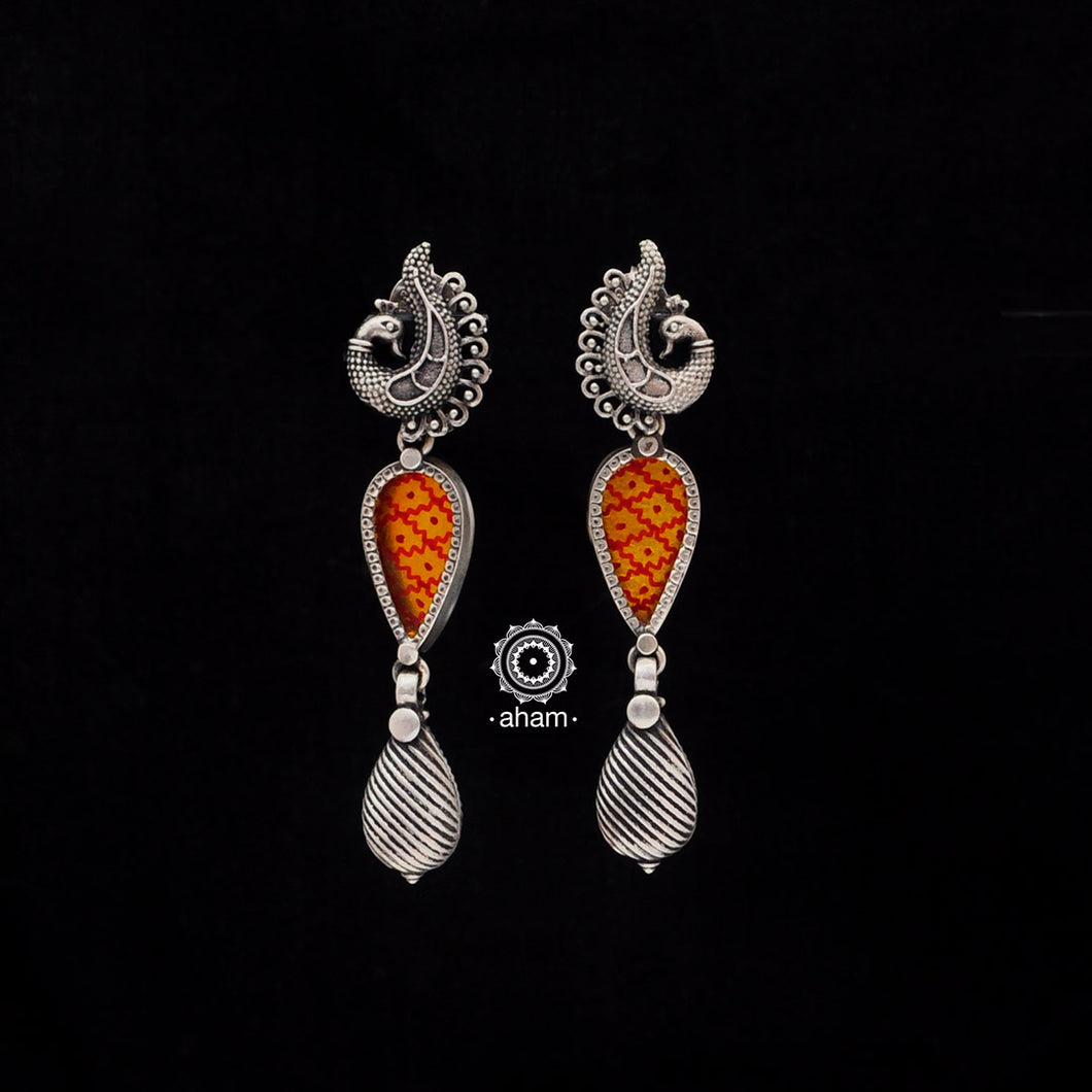 Rang Mahal Yellow Peacock Silver Earring
