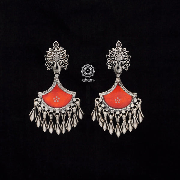 Rang Mahal Orange Peacock Silver Earring