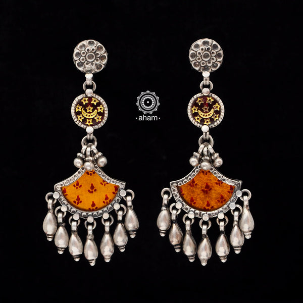 92.5 Sterling Silver Rang Mahal Earrings. The magic that happens when glass, silver and a pop of colour come together.