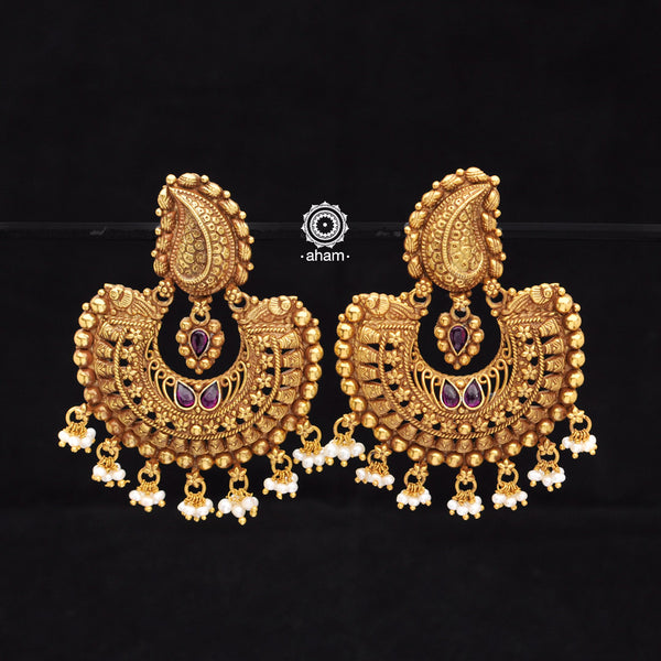 Mango Silver Gold Polish Chandbali Earring
