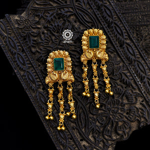 Gold Polish Green stone Earrings