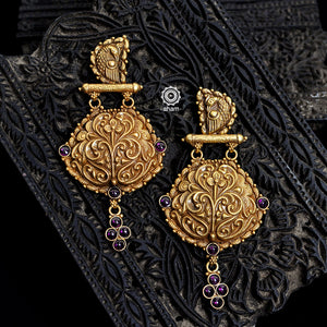 Gold Polish Silver Peacock Earring
