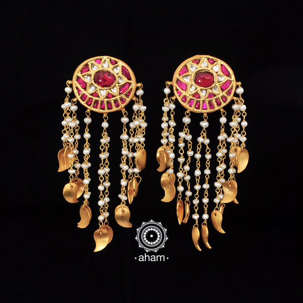 Gold Polish Kundan Dangler Earrings