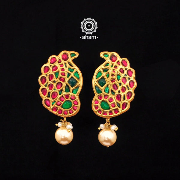 Gold Polish Kundan Peacock Earrings