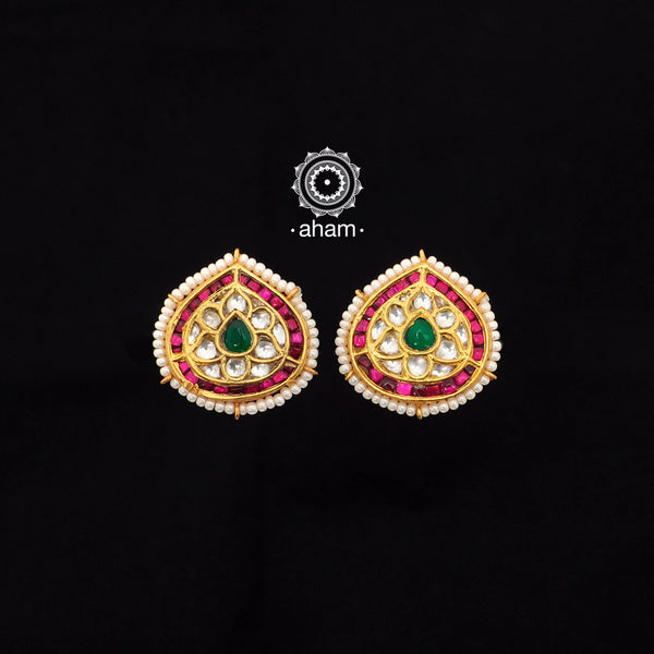 Tear Drop Gold Polish Silver Kundan Studs