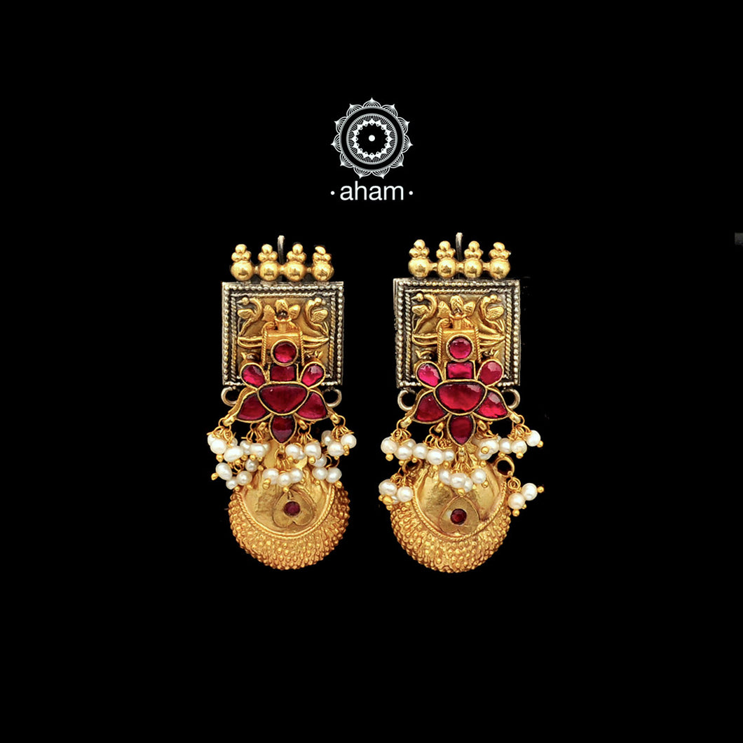 Fusion Handcrafted two tone earrings with Kundan flower setting and Borla Hanging
