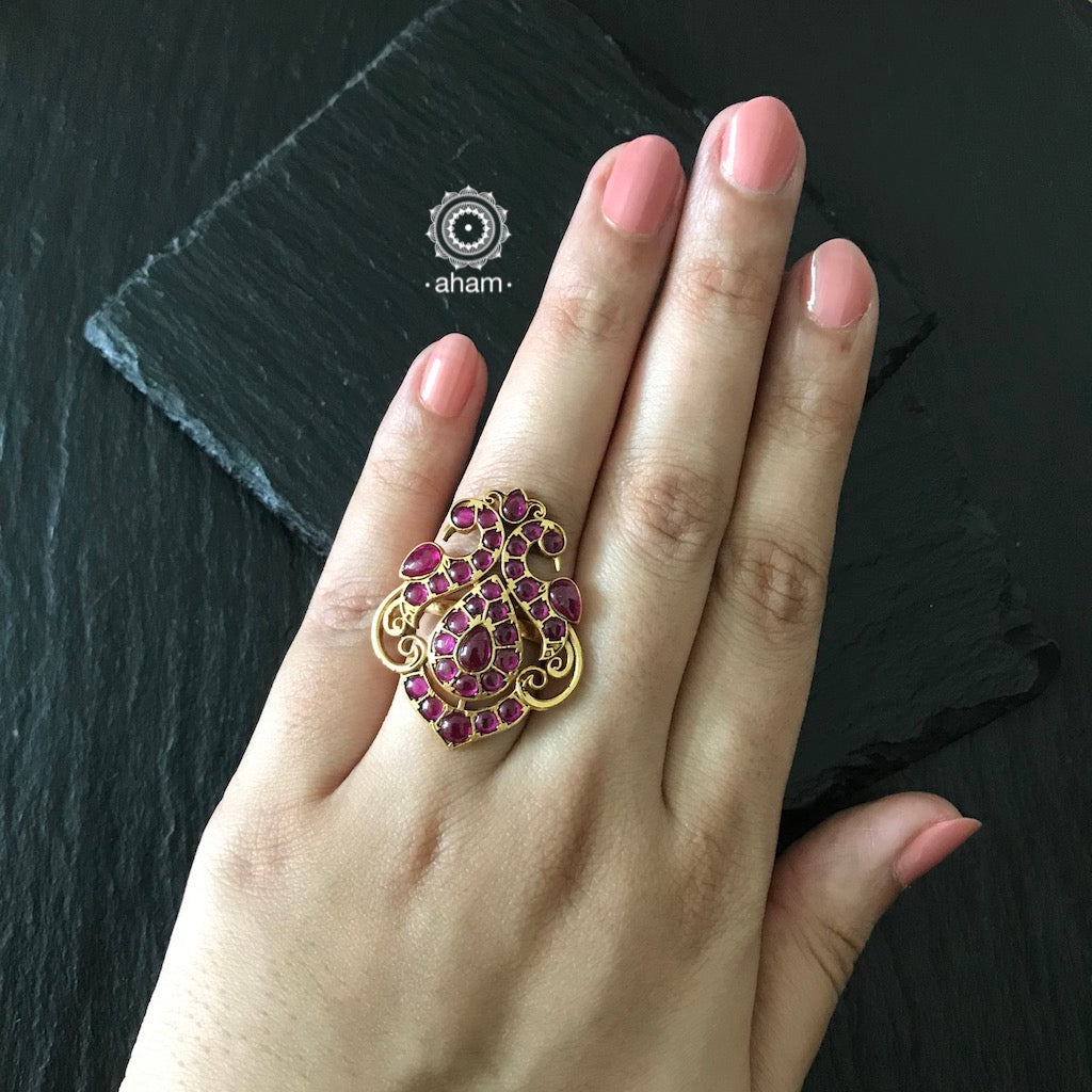 Adjustable Silver Gold Polish Peacock Ring