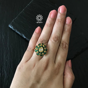Silver Adjustable 92.5 flower Ring dipped in gold polish