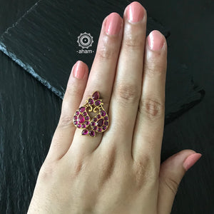 Adjustable Silver Gold Polish Ring