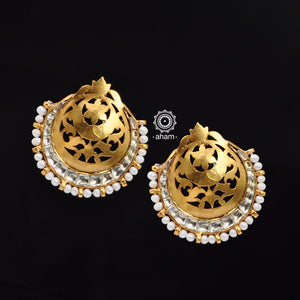 Gold Polish silver Dome earrings laced with pearls