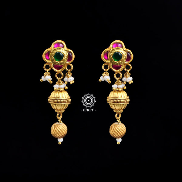 Gold Polish Flower Drop Earring
