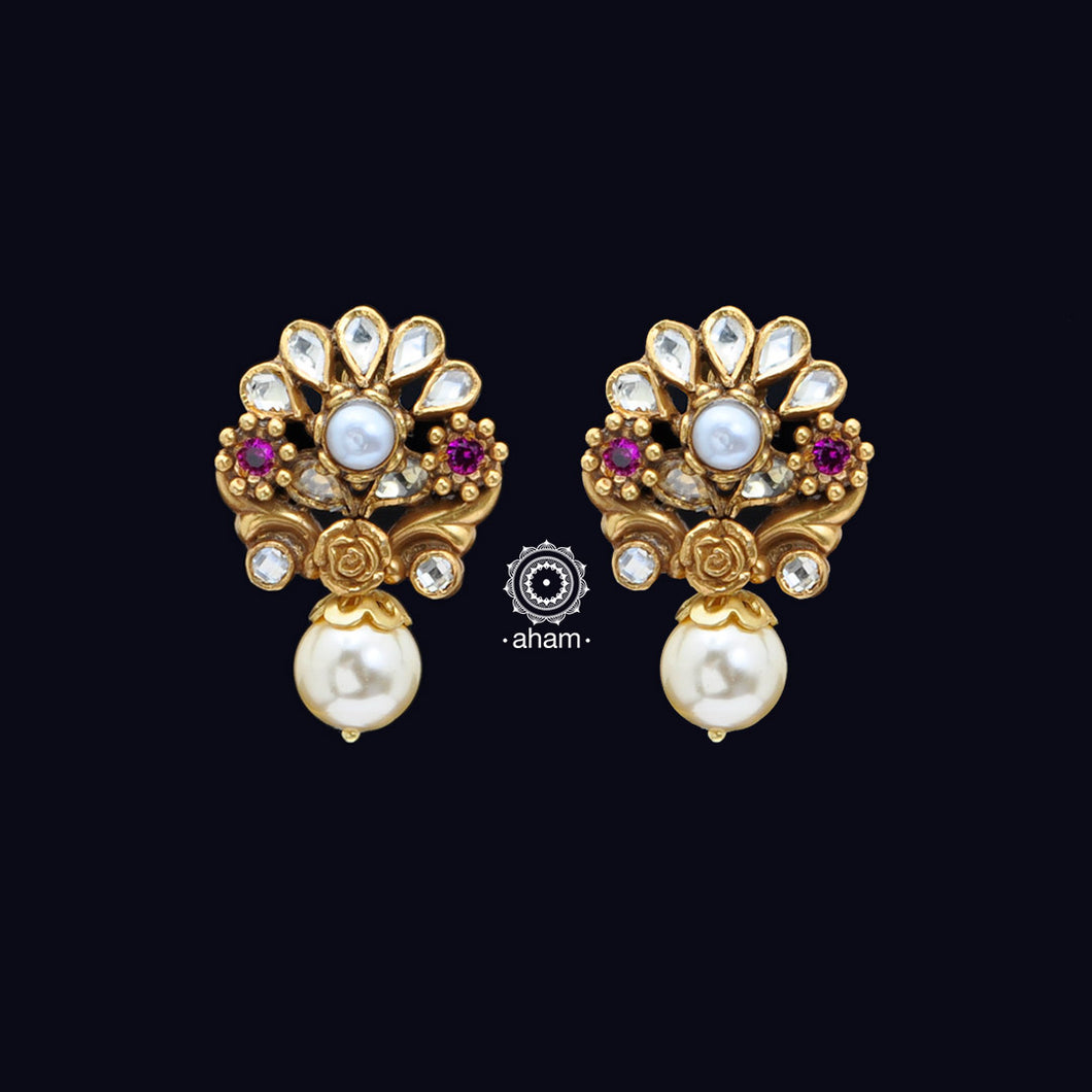 Handcrafted 92.5 Silver Gold Polish Earrings with Kundan work and Pearl Drop
