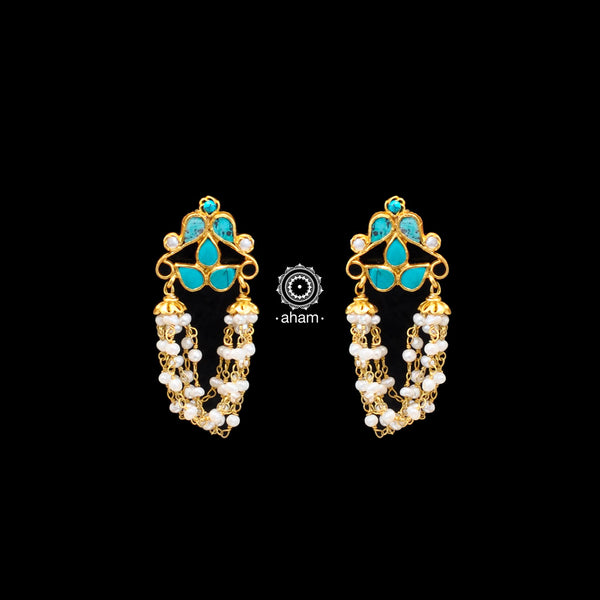 Turquoise and Pearl Gold Polish Earrings