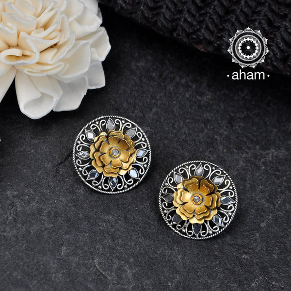 Beautiful HandCrafted Two Tone Zircon Studs