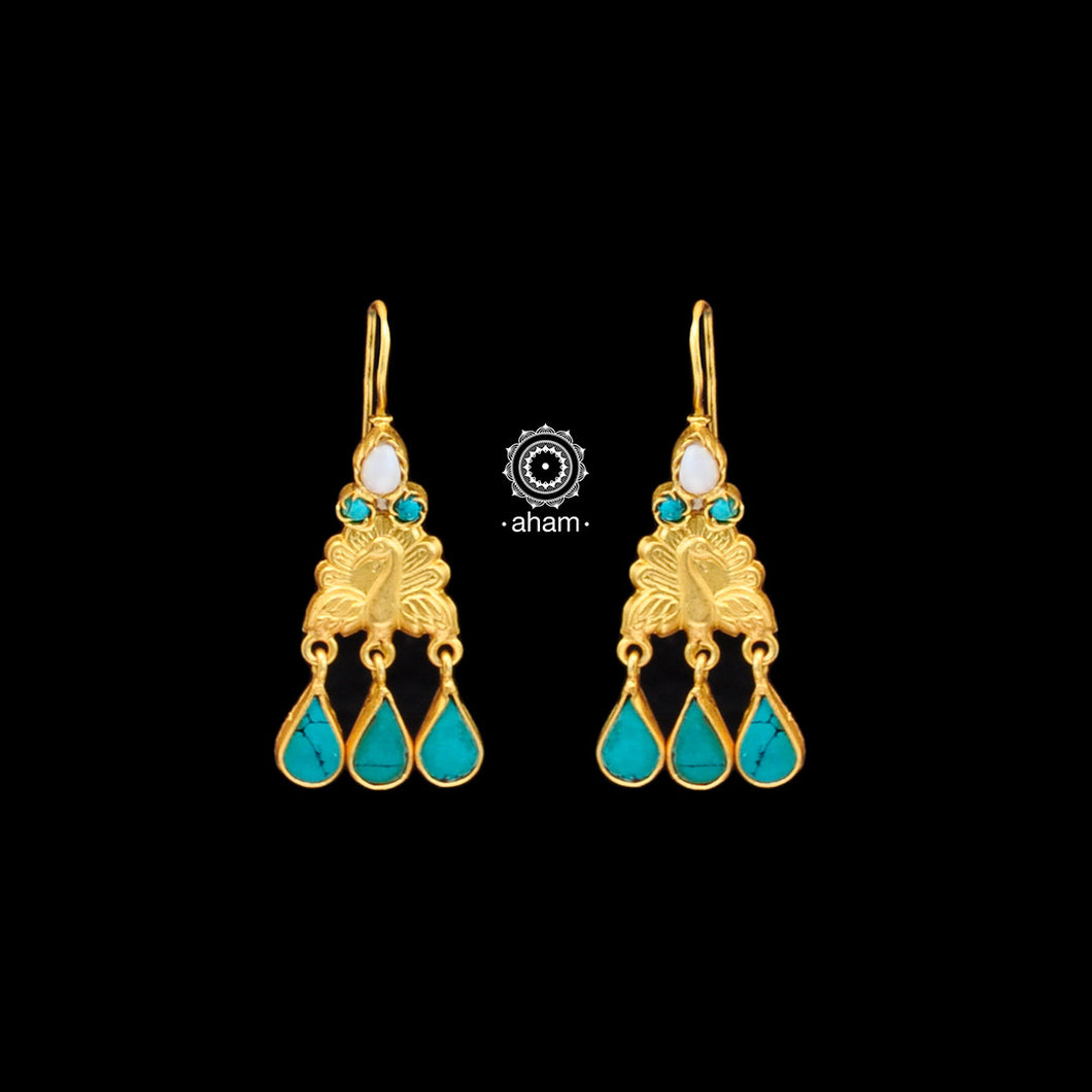 Classic silver gold polish (92.5)earrings. perfect for festivities.  With beautiful turquoise and Pearls.
