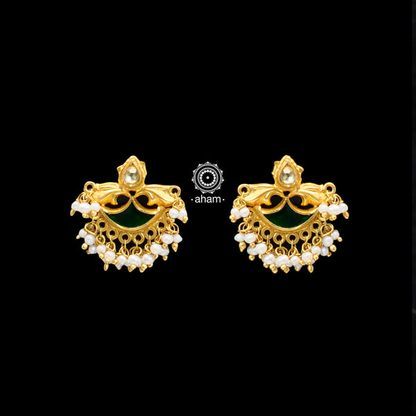 Handcrafted 92.5 Sterling Silver Gold Polish Earrings with Kundan and Pearl Work